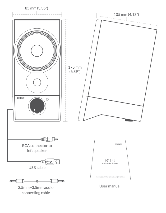 r19u compact usb speakers - powered by usb