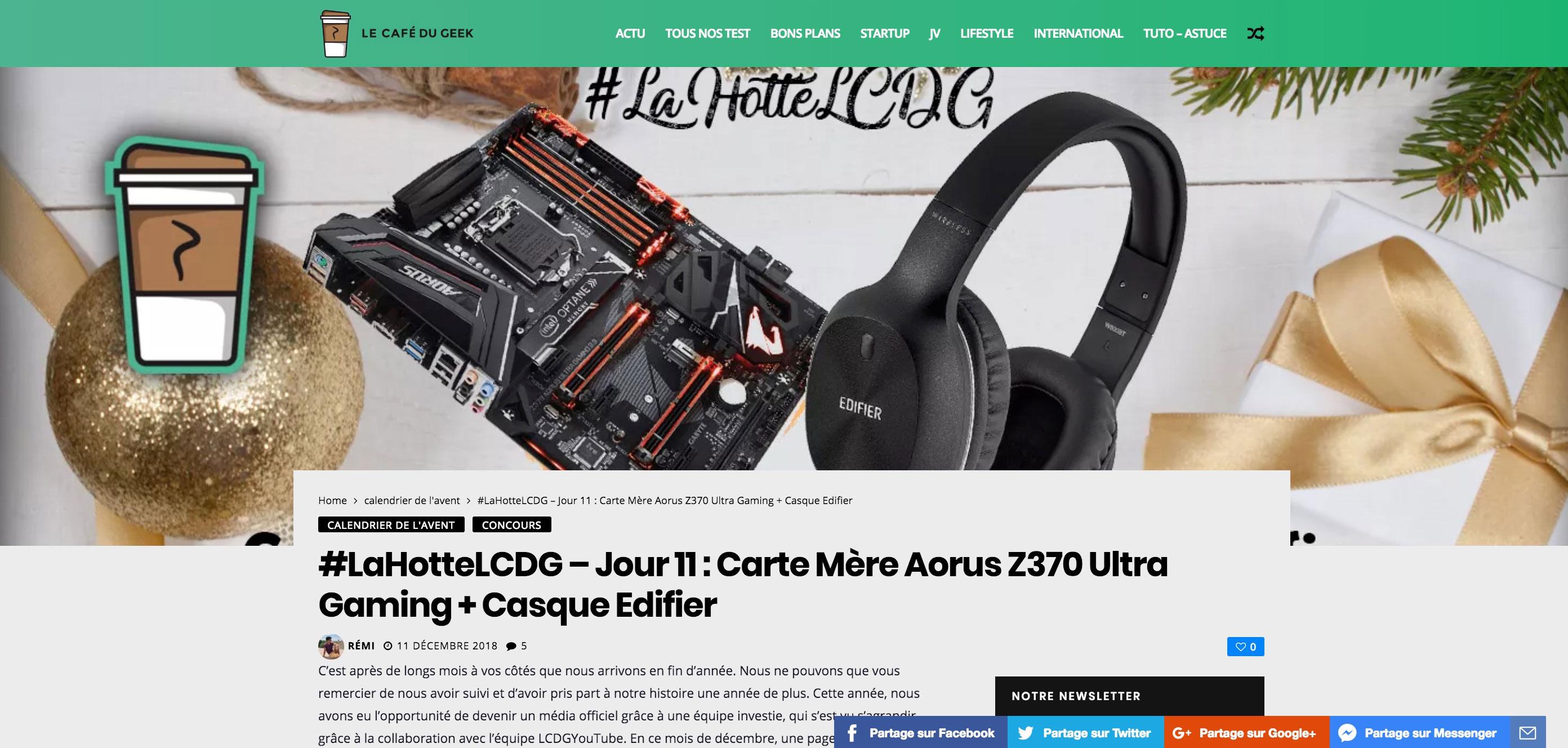 #LaHotteLCDG - Day 11: Motherboard Aorus Z370 Ultra Gaming + Headphone Edifier