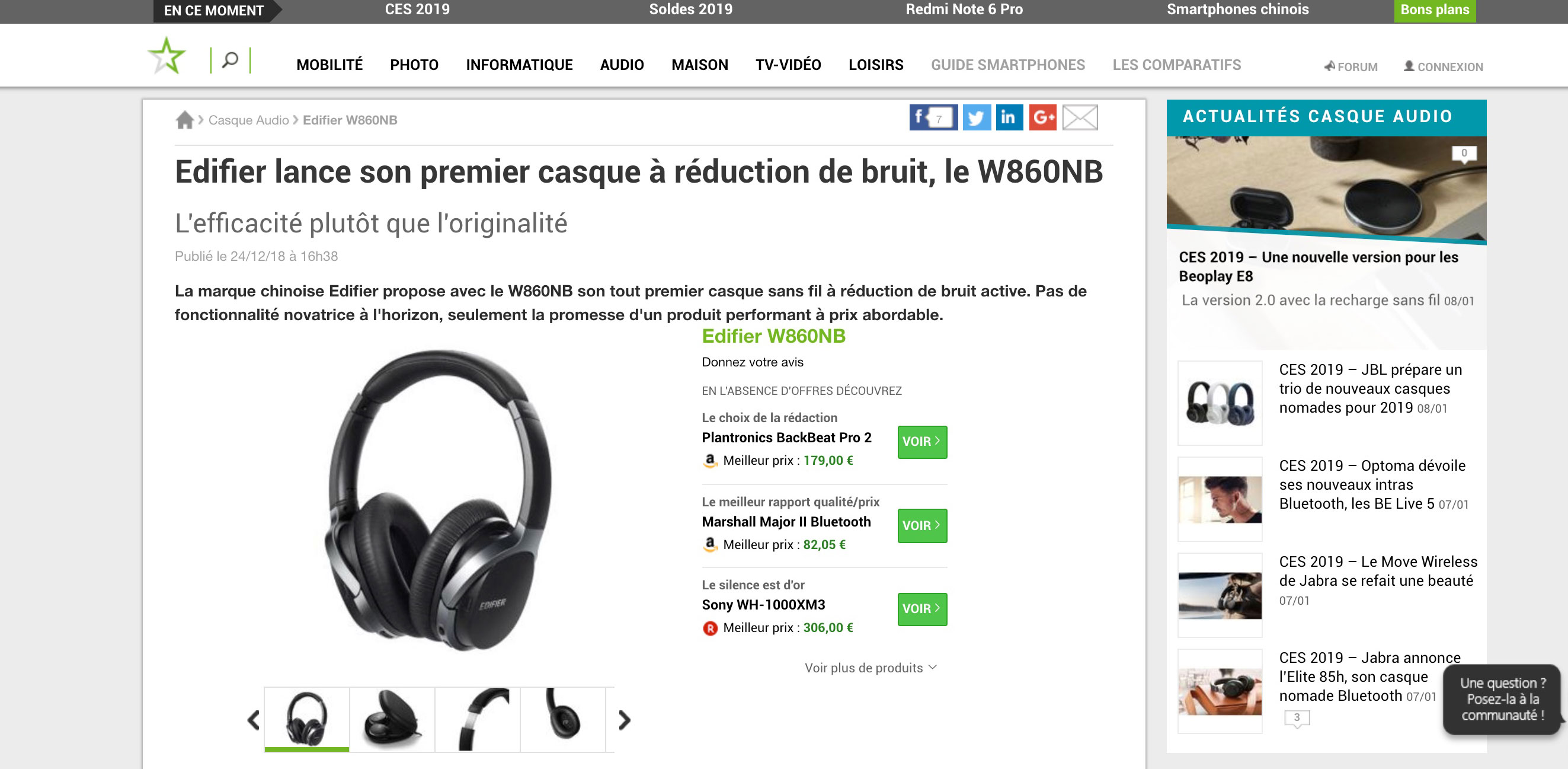 Edifier launches its first noise reduction headset, the W860NB