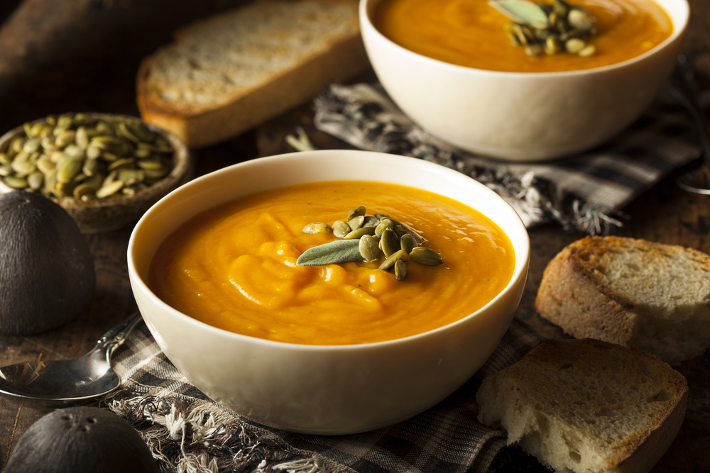 squash sweet potato soup with toast